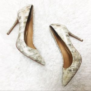 COACH Gold White Python Leather Harlee Heel Pumps